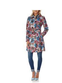 Yumi Floral Print Trench Coat