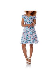 Yumi Rose Print Sweetheart Party Dress