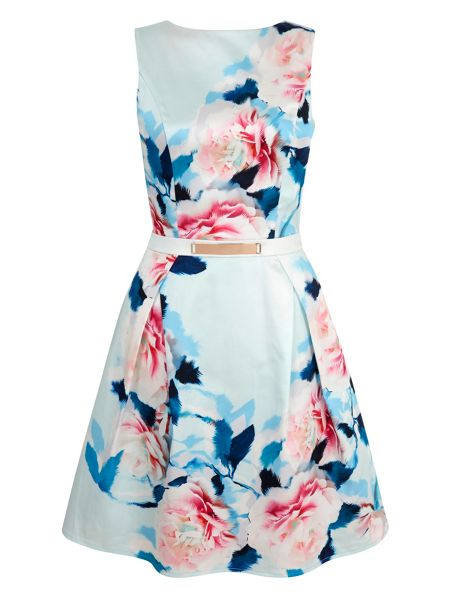 Yumi Rose Print Satin Party Dress