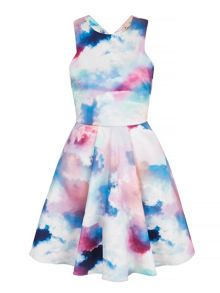 Yumi Cloud Print Party Dress