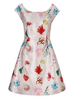 Coral Reef Print Party Dress