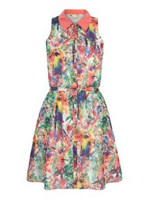 Tropical Parrot Print Shirt Dress