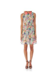 Yumi Tropical Parrot Print Shirt Dress