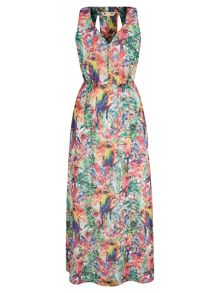 Tropical Parrot Print Maxi Dress