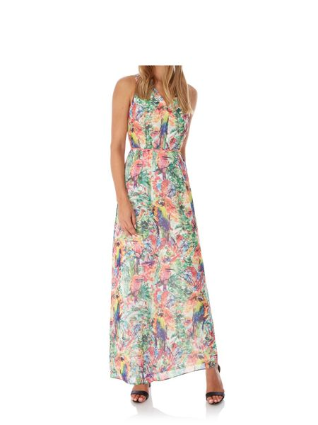 Yumi Tropical Parrot Print Maxi Dress