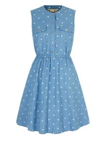 Yumi Polka Dot Print Denim Shirt Dress