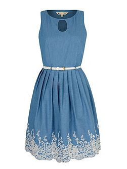 Broderie Anglaise Chambray Dress
