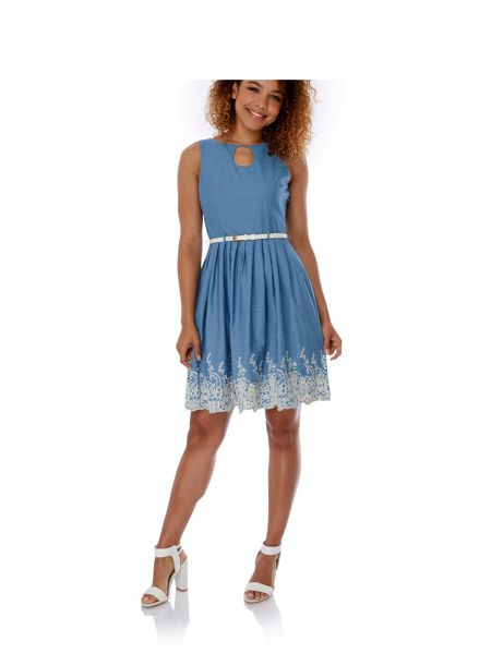 Yumi Broderie Anglaise Chambray Dress