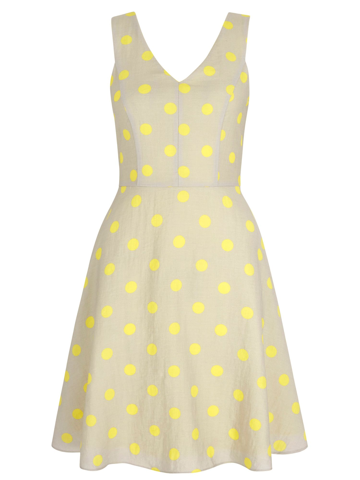 Yumi Polka Dot Print Day Dress, Grey
