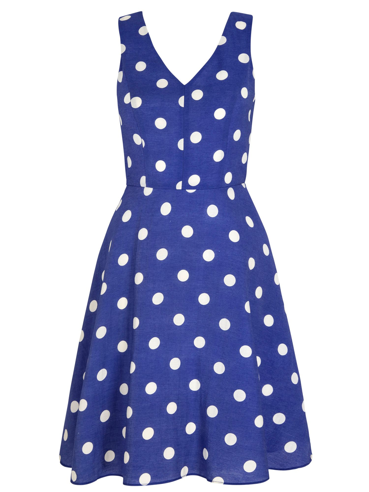 Yumi Polka Dot Print Day Dress, Blue