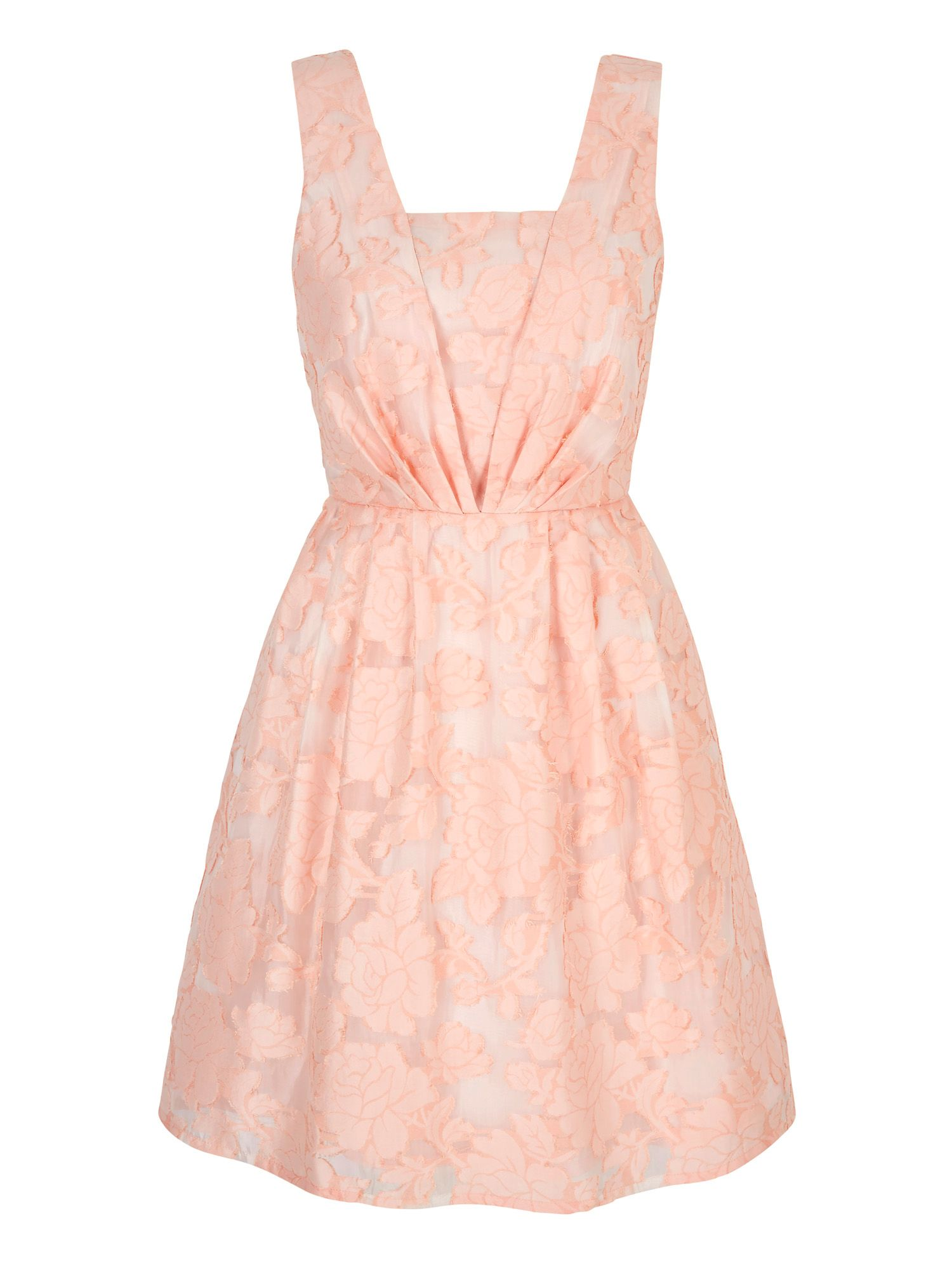 Yumi Floral Jacquard Party Dress, Coral