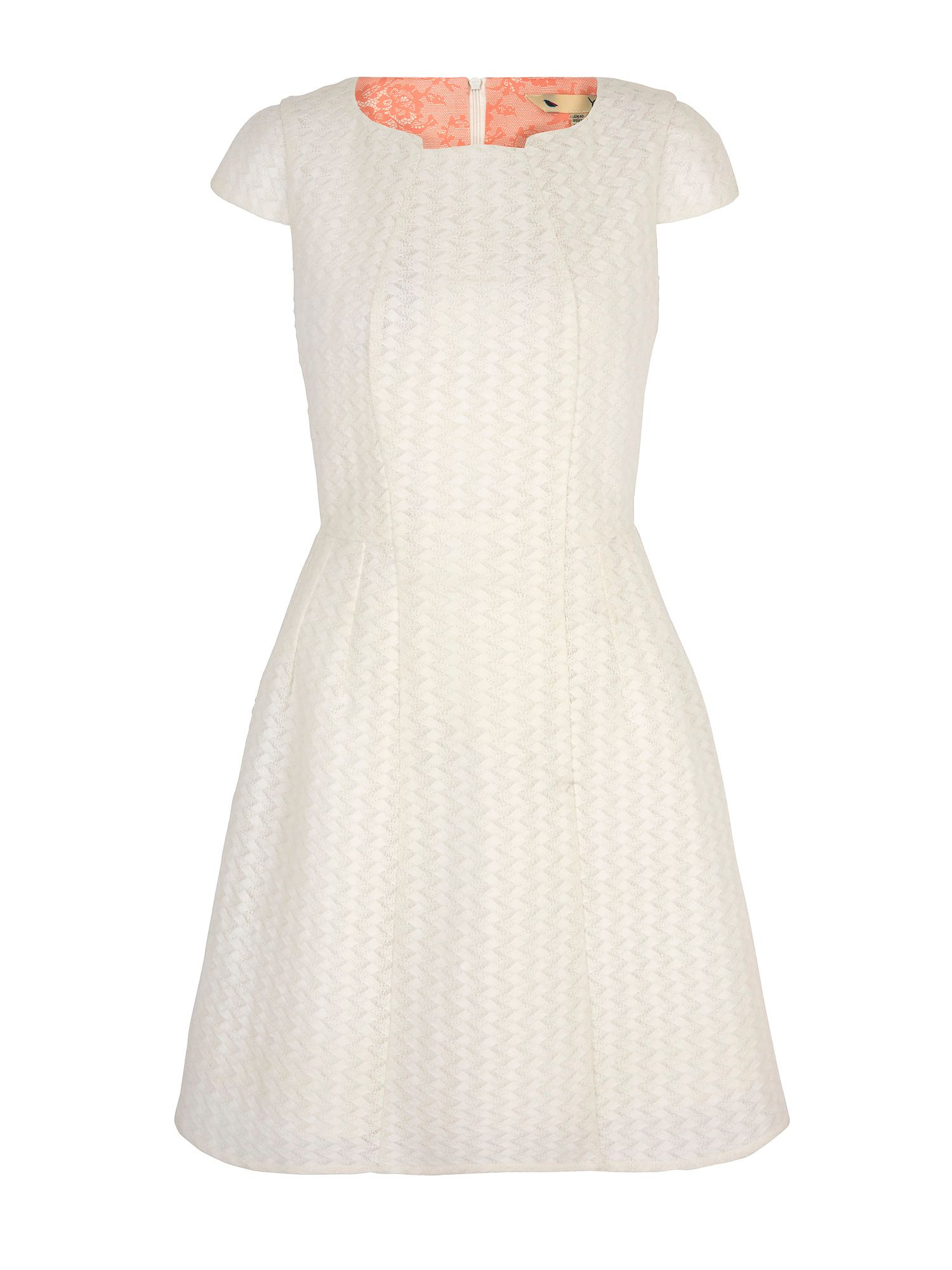Yumi Textured Ponte Party Dress, White