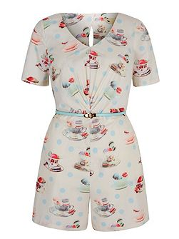 Tea and Macaroons Playsuit with belt