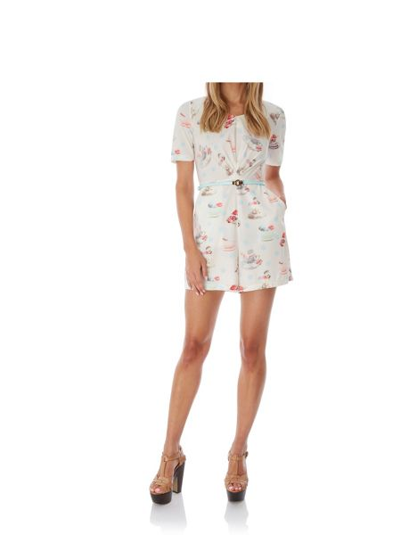 Yumi Tea and Macaroons Playsuit with belt