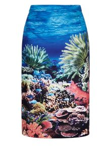 Yumi Underwater Print Pencil Skirt