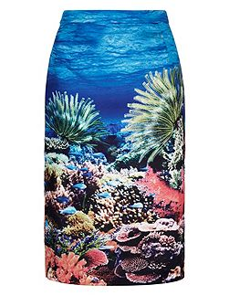 Underwater Print Pencil Skirt