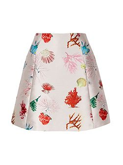 Coral Reef Print A-line Skirt