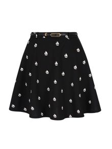 Yumi Boat Print Skater Skirt with belt