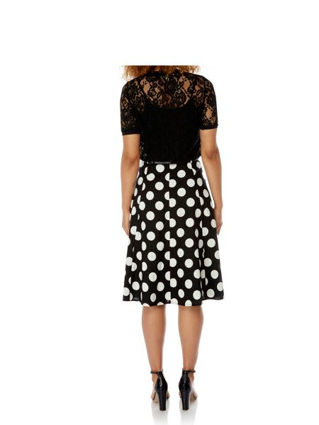 Yumi Polka Dot Midi Skirt with belt