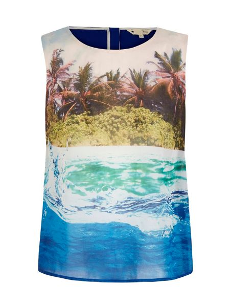 Yumi Underwater Print Sleeveless Top