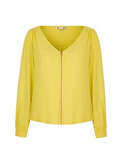 Zip Front Long Sleeve Blouse