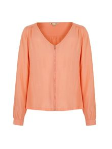 Yumi Zip Front Long Sleeve Blouse