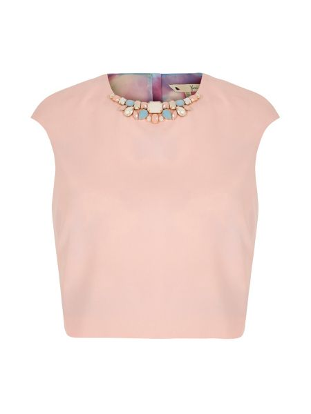 Yumi Embellished Crop Shell Top