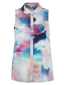 Cloud Print Sleeveless Blouse