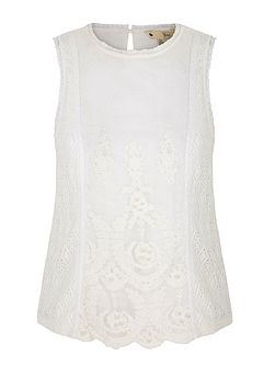 Embellished Lace Sleeveless Top