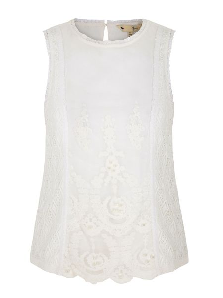 Yumi Embellished Lace Sleeveless Top