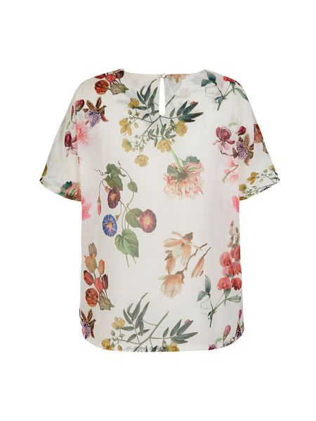 Yumi Botanical Floral Print Oversized Top