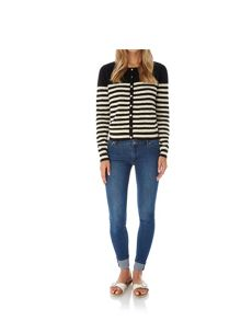 Yumi Stripe Print Heart Pointelle Cardigan