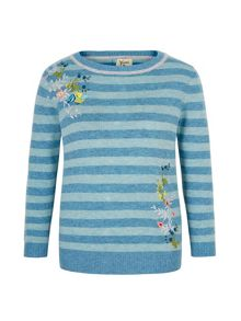 Yumi Embroidered Stripe Print Jumper