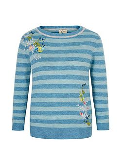 Embroidered Stripe Print Jumper