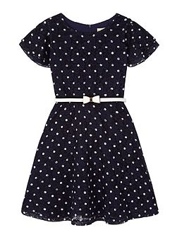 Girls Polka Dot Lace Dress