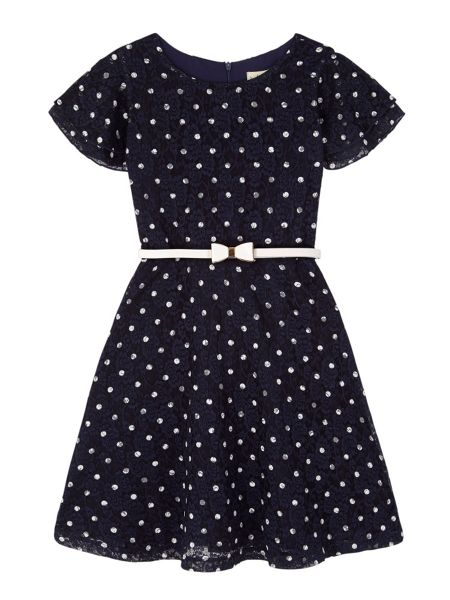 Yumi Girls Girls Polka Dot Lace Dress