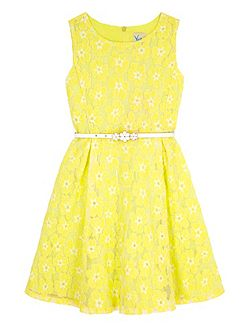 Girls Floral Lace Skater Dress