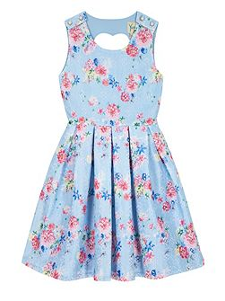 Girls Vintage Floral Print Dress
