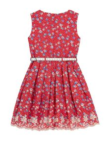 Yumi Girls Girls Polka Dot Floral Print Day Dress
