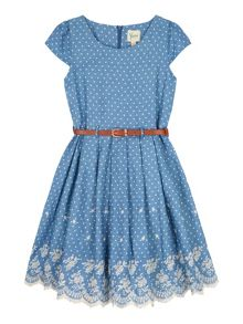 Yumi Girls Girls Chambray Polka Dot Print Dress