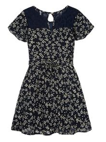 Yumi Girls Girls Ditsy Floral Print Day Dress