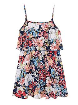 Girls Butterfly Floral Frill Dress
