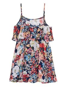 Yumi Girls Girls Butterfly Floral Frill Dress