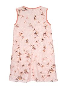 Yumi Girls Girls Bird Print Lace Shift Dress