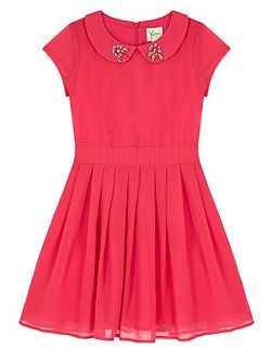 Girls Embellished Collar Party Dress
