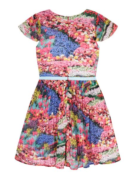 Yumi Girls Girls Meadow Print Pleated Dress