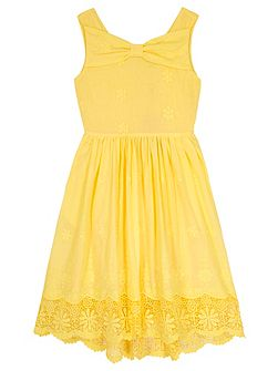 Girls Borderie Anglaise Bow Day Dress