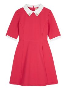 Yumi Girls Girls Contrast Embellished Collar Dress