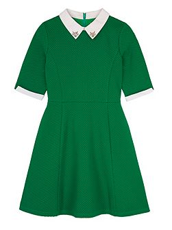 Girls Contrast Embellished Collar Dress