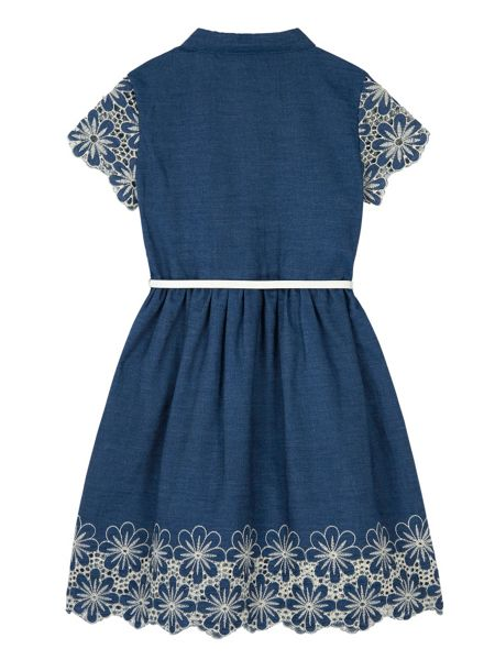 Yumi Girls Girls Denim Broderie Anglaise Dress